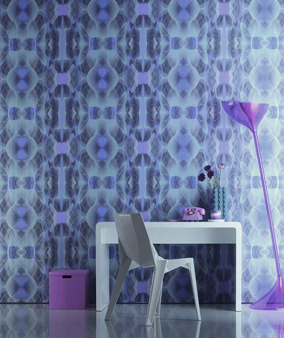 Tapete matuta blau lila pastellhellblau saphirblau for Tapete lila silber