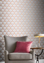 Wallpaper Nerea Shimmering pattern Matt base surface Graphic elements Grey White Rosewood shimmer