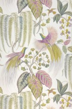 Wallpaper Savuti Matt Birds Branches with leaves White Shades of green Light grey beige Red purple