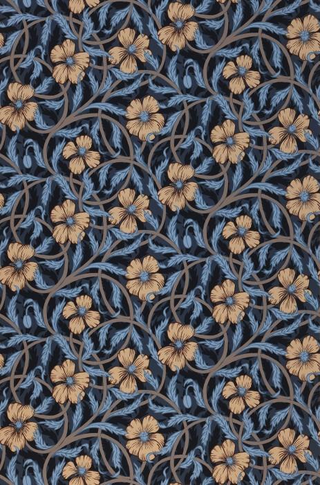 Papel pintado Esmeralda Mate Hojas Flores Damasco floral Zarcillos Azul grisáceo Beige Beige grisáceo Azul claro Azul negruzco