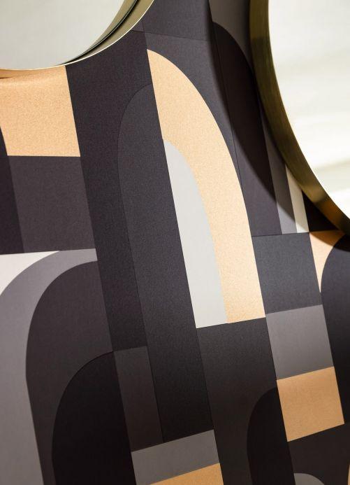 Papier peint noir Papier peint Seizo tons de gris Vue pièce