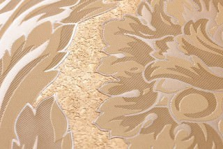 Wallpaper Clarissa Shimmering Stylised Flower Tendrils Matt gold Pale light brown Pearl beige White brown