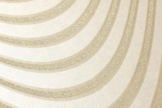 Papel pintado Megaira Patrón reluciente Superficie base brillante Olas  Oro blanco Oro lustre Beige perla