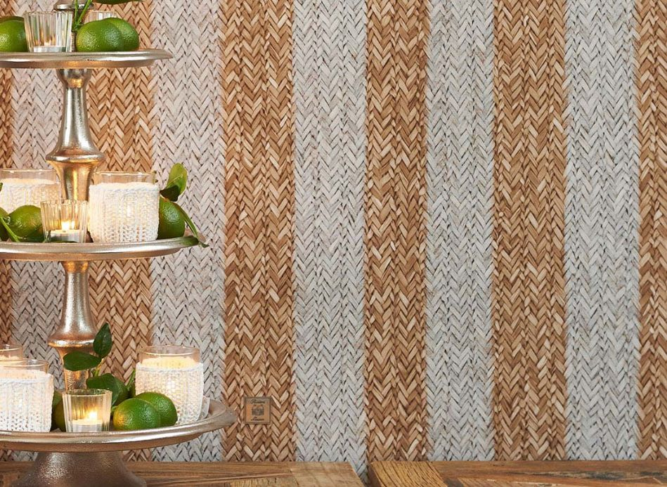 Shabby Chic Wallpaper Wallpaper Rattan Striped brown beige Room View