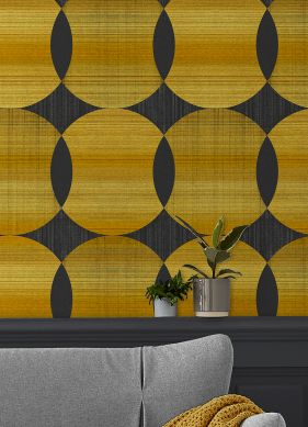 Papel pintado Kasavu amarillo oro brillante Raumansicht