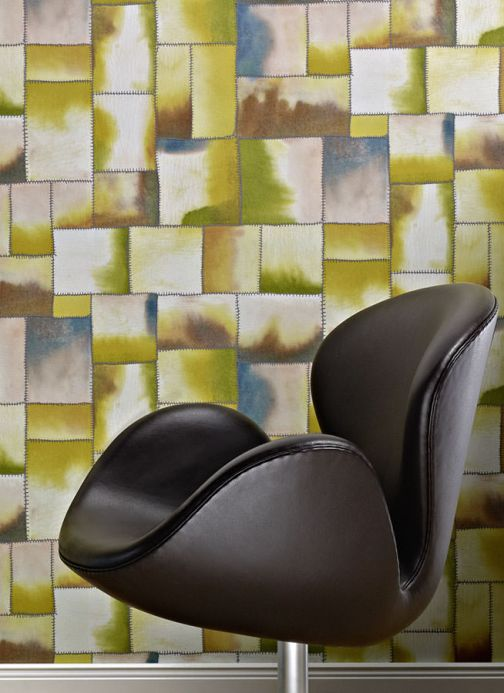 Archiv Wallpaper Patchwork fern green Room View