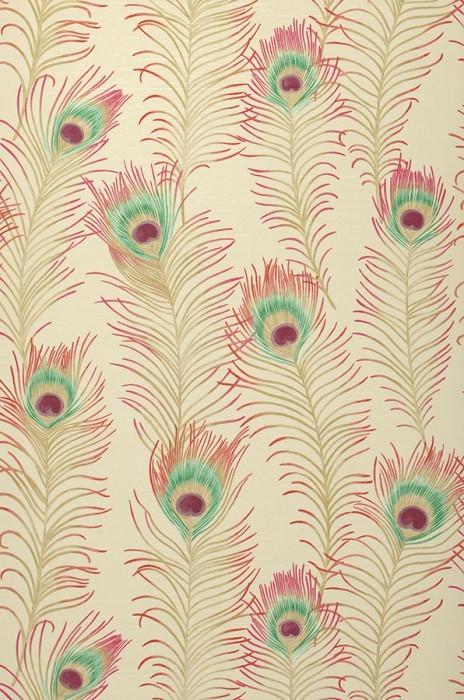 Papier peint Eistin Mat Plumes de paon Ivoire clair Beige Vert Rouge Violet