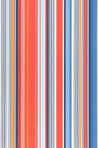 Carta da parati Sinja Opaco Strisce Blu Blu scuro Arancio Rosso Bianco