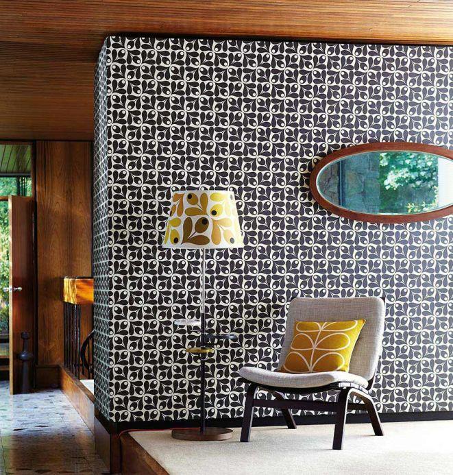 Papel de parede floral Papel de parede Tellus preto Ver quarto