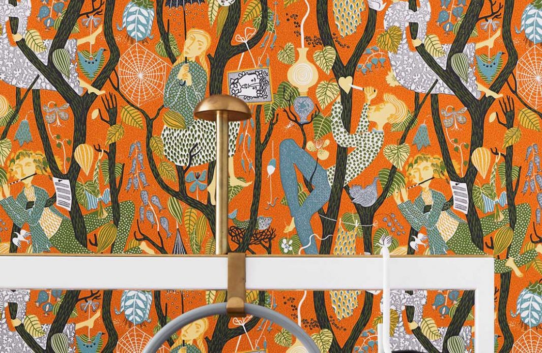 Funky Wallpaper Wallpaper Amadeus orange brown Room View