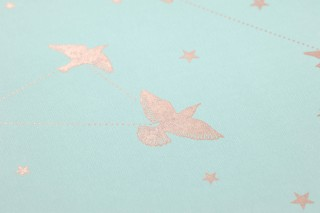 Wallpaper Hermine Shimmering pattern Matt base surface Stars Birds Pastel green Rosewood shimmer