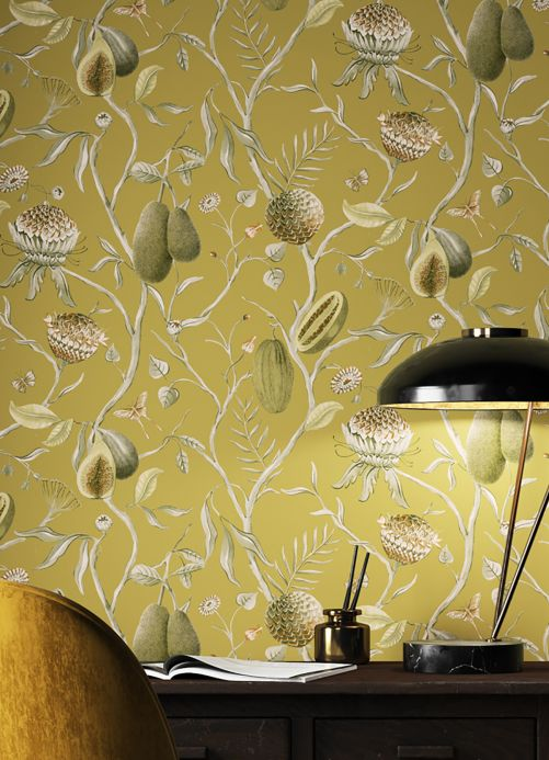 Modern Wallpaper Wallpaper Morada ochre  Room View