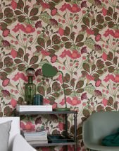 Wallpaper Ancasi Hand printed look Matt Leaves Blossoms Light ivory Antique pink Pale green Claret violet Olive green
