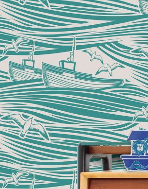 Papier peint Ulysses vert turquoise Vue pièce