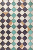 Wallpaper Tourquoise chess Shimmering Imitation tiles Beige brown Cream Black violet Turquoise
