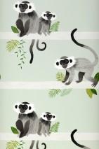 Papel de parede Trixi Mate Macacos Folhas Branco esverdeado Tons de cinza Branco acinzentado Tons de verde