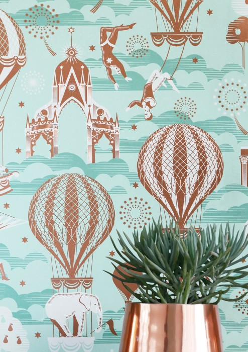 Wallpaper Rosi Matt Trees Hot-air balloons Horses Clouds Circus performers Big Top Feuerwerk Light green Grey white Mint turquoise Rosewood shimmer