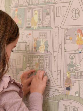 Wallpaper Dollhouse grey violet Raumansicht