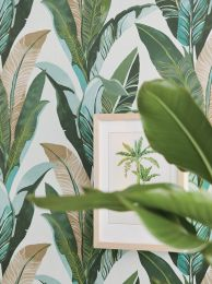 Papel de parede Lasita turquesa menta
