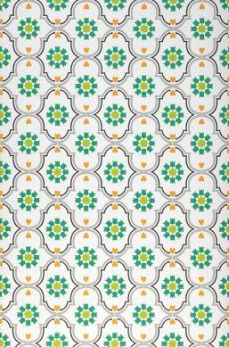 Papel pintado Efigenia verde Ancho rollo