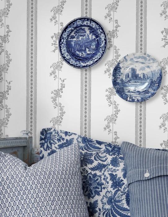 Wallpaper Claudine Matt Flower tendrils Stripes White Dark grey Light grey