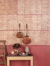 Wallpaper Dakini Batik Style Hand-printed Matt Shabby chic Circles Dots Beige Claret coloured