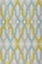 Wallpaper Karus Matt Geometrical elements Cream Fern green Grey Mint turquoise