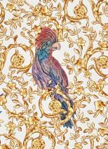 Wallpaper Adriana Matt Floral damask Birds Cream Pale brown Brown Light yellow Violet tones
