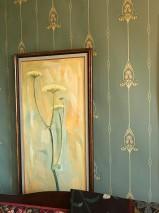 Wallpaper Danne Hand printed look Matt Floral damask Graphic elements Art nouveau Mint turquoise Beige Ivory Pine green Pale pink