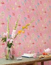 Papier peint Mallorie Mat Fleurs Fruits Oiseaux Rosé Vert Rouge Bleu turquoise Bleu violet