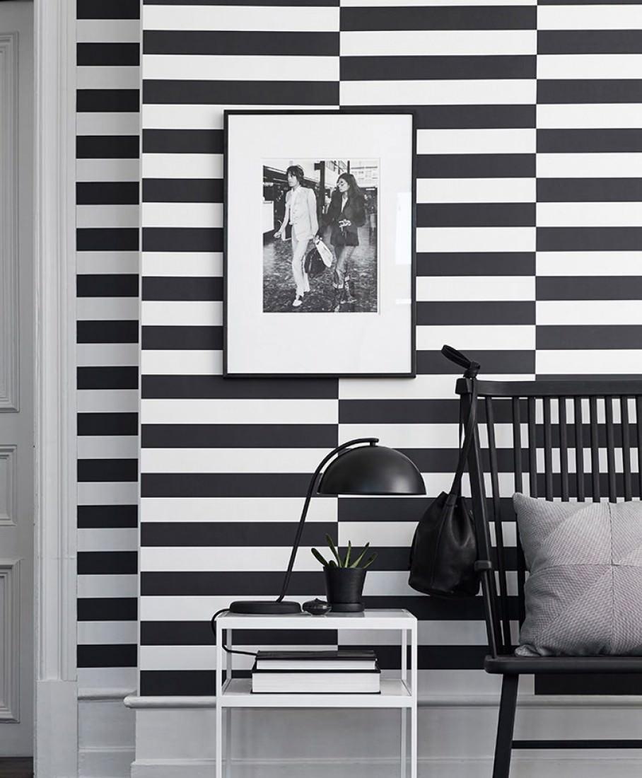 papier peint bagur blanc noir papier peint des ann es 70. Black Bedroom Furniture Sets. Home Design Ideas