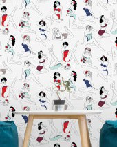 Wallpaper Pinup Matt Pin-Up girls White Pale mint green Dark blue Red Black