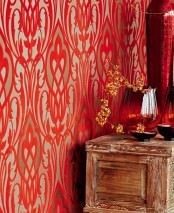 Wallpaper Letona Matt pattern Shimmering base surface Modern damask Pearl beige Pearl gold Fawn brown shimmer Ruby red