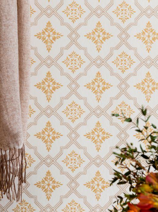 Classic Wallpaper Wallpaper Lavinia ochre yellow Room View