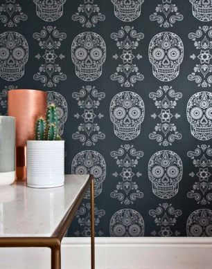Wallpaper Dia de los Muertos black grey Room View