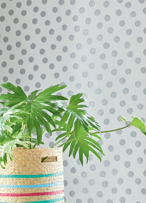 Wallpaper Corbetta Shimmering pattern Matt base surface Dots White Silver glitter