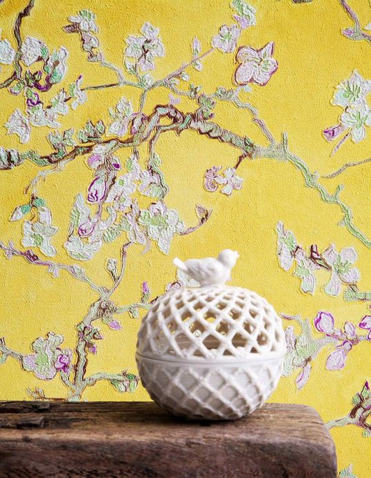 Floral Wallpaper Wallpaper VanGogh Blossom yellow Room View