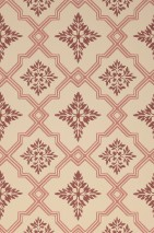 Wallpaper Lavinia Hand printed look Matt Historic damask Rhombuses Light ivory Rosewood Wine red