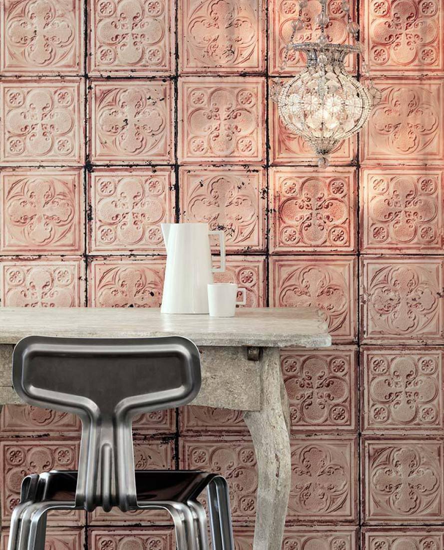 Papier Peint Brooklyn Tins 06 Bois De Rose Rouge Beige Gris Fonce