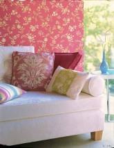 Wallpaper Minerva Shimmering pattern Matt base surface Stylised flowers Pink Gold lustre