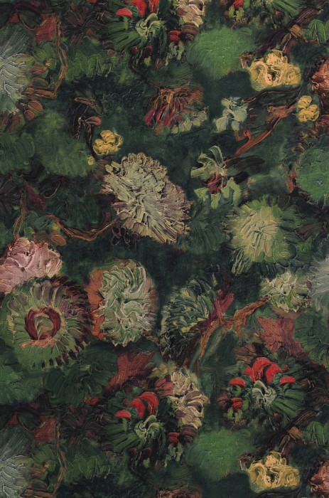 Wallpaper VanGogh Peonies Matt Flowers Blossoms Dark green Pale green Green Orient red Pastel yellow Red brown