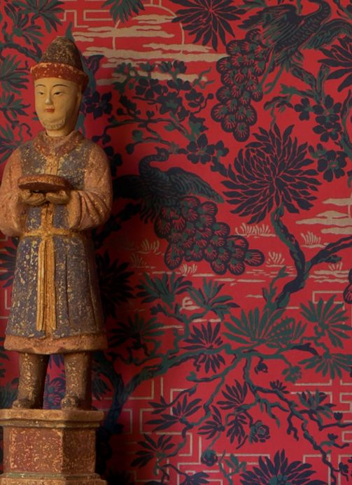 Papel de parede oriental Papel de parede Winsam vermelho oriental Ver quarto