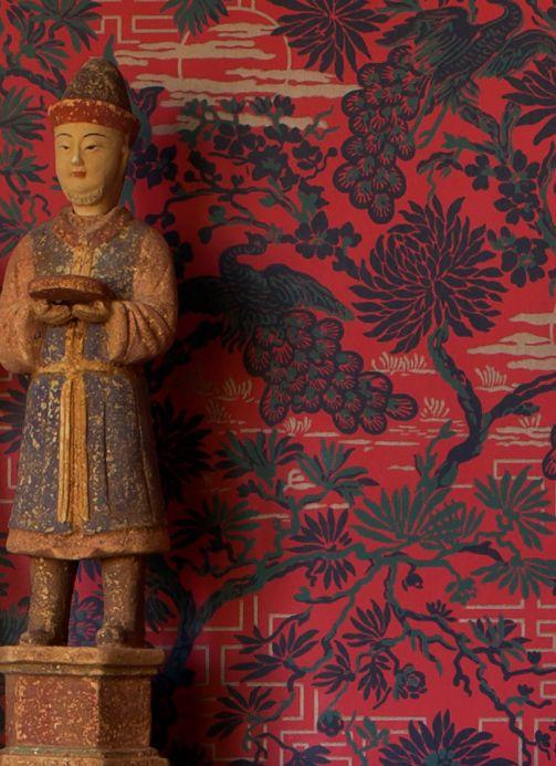 Red Wallpaper Wallpaper Winsam orient red Room View