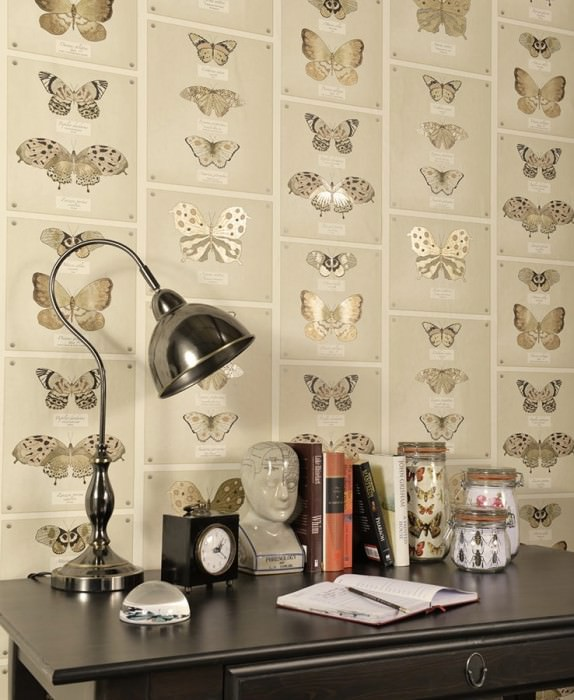 Wallpaper Farfalla Matt Butterflies Cream Gold shimmer Light brown beige Light ivory Black
