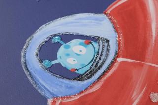 Tapete Luitpoldo Muster schimmernd Untergrund matt Astronauten Planeten Raketen Sterne Ufos Dunkelblau Blau Graubeige Rot Türkisblau