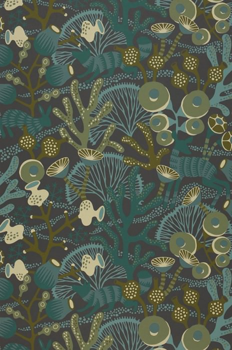 Wallpaper Serena Hand printed look Matt Foxes Rabbits Corals Deer Anthracite Dark green Ivory Mint turquoise Olive green