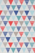 Wallpaper Platta Matt Triangles Beige grey Blue Cream Mint turquoise Red