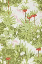 Wallpaper Somnus Matt Garden flowers White Yellow green Olive green Rose Ruby red