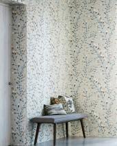 Papel pintado Mathea Mate Hojas zarcillos Beige perla claro  Beige parduzco Gris oscuro Marrón grisáceo Blanco