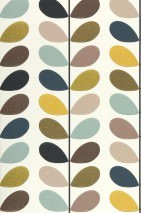 Wallpaper Osiris Matt Stylised leaves Cream Golden yellow Olive green Pastel turquoise Black grey